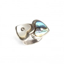 Inel romantic | argint, scoică abalone & sidef natural |  Franța