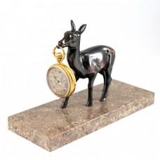 Inedit suport Art Deco pentru ceas de buzunar   staniu cuprat & marmură William   Franța cca.1930