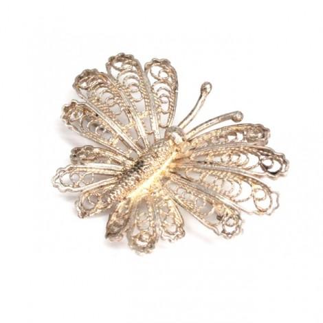 Delicată broșă din argint filigranat | Fluture | manufactură de artizan italian