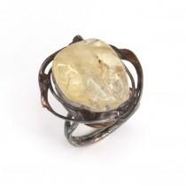 Spectaculos inel mid-century Space Age | cuarț galben & cupru parțial argintat | Franța