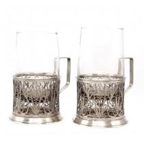 Pereche de suporturi Podstakannik, pentru pahare de ceai   melchior filigranat și argintat   cca.1960 Rusia