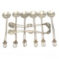 Inedită garnitură otomană de accesorii pentru servirea ceaiului | argint | Mehmed V | cca.1920