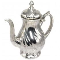Elegant ceainic Art Nouveau   porțelan cuprat & argintat   atelier WMF   cca.1920