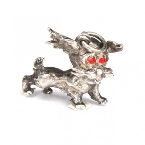 Simpatic pandant din argint   Shorkie   metis de Yorkshire Terrier cu Shih Tzu chinezesc