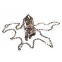 Colier cu pandant cinetic: miniatură bulldog francez | manufactură în argint | Italia cca.1950