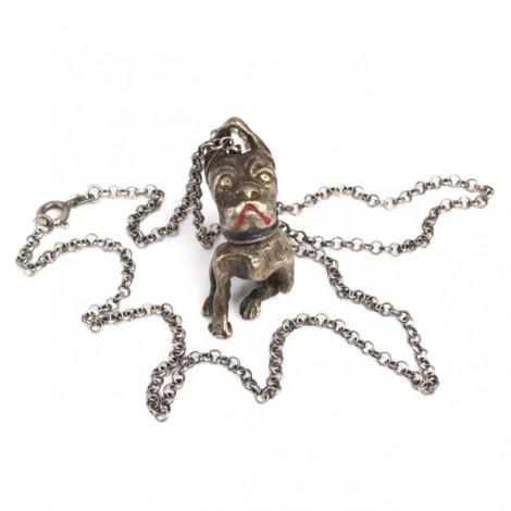 Colier cu pandant cinetic: miniatură bulldog francez   manufactură în argint   Italia cca.1950