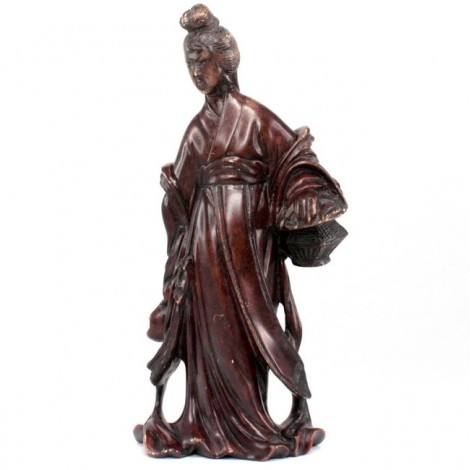 Veche statuetă sculptată în piatră Shoushan |  Lan Caihe | China