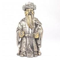 Statuetă taoistă realizată din rășină laminată cu argint | Zeul Lu | Italia cca.1980