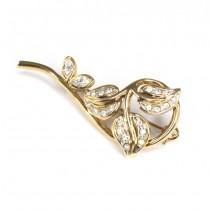 Elegantă broșă naturalistă | argint aurit & cristale Swarovski | Italia anii '70