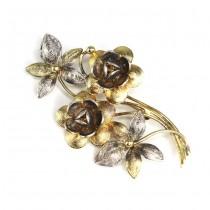 Superbă broșă florală din argint filigrant, aurit și patinat | Italia