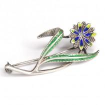 Broșă florală | argint emailat | manufactură de atelier italian | 1950 - 1960