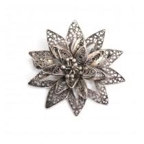 Veche și rafinată broșă florală | argint filigranat | cca.1920 | Danemarca