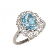 Splendid inel cocktail Art Deco | aur alb & platină | acvamarin 2.1 CT & diamante 0.84 CT