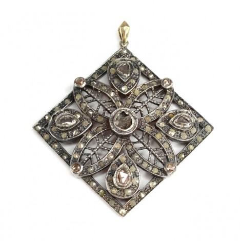 Opulent pandant victorian decorat cu diamante naturale 1.35 CT | manufactură în argint & aur | cca.1900 Marea Britanie