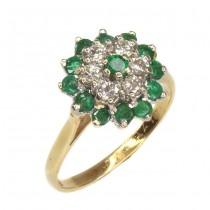 Elegant inel de perioadă Art Deco | aur 18 k, diamante și smaralde naturale | Marea Britanie