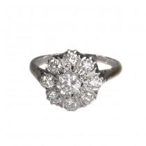 Inel Art Deco din platină și aur alb |  diamante naturale 0.84 CT | Marea Britanie 1920 -1930
