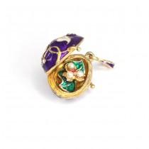 Rafinat pandant locket Fabergé cu miniatură florală | argint aurit & emailat | Rusia