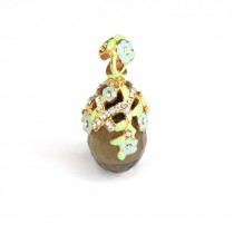 Rafinat pandant Fabergé în stil Art Nouveau | argint aurit, emailat & cuarț fumuriu | Rusia
