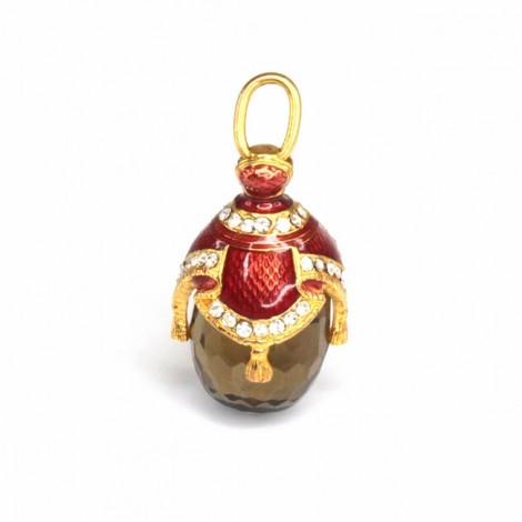 Elegant pandant Fabergé în stil imperial | argint aurit, email & cuarț fumuriu | Rusia