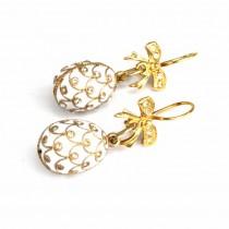 Opulenți cercei candelabru în stil Fabergé | argint aurit & email | Rusia
