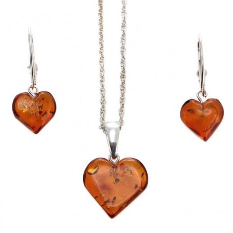 Set de bijuterii din argint cu inimioare din chihlimbar natural | Amber Waves | Polonia | Produs Nou!