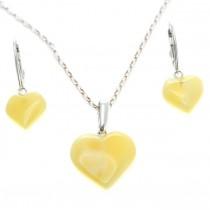 Set de bijuterii din argint cu inimioare din chihlimbar butterscotch | Polonia | Produs Nou !
