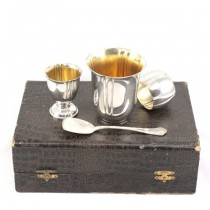 RAR: Set din argint pentru copii | pahar mare, pahar mic. inel șervet, linguriță | anii '30 Belgia