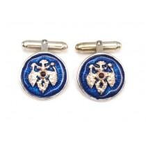 Butoni heraldici în stil Fabergé | argint emailat & granat cabochon |  Rusia