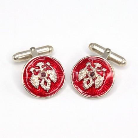 Butoni heraldici în stil Fabergé| argint emailat & argint rodiat | Rusia