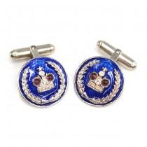 Butoni în stil Fabergé  | argint emailat & granate naturale | Rusia