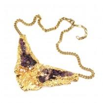 Opulent colier brutalist | oțel placat cu aur, ametiste & perle |  anii '70