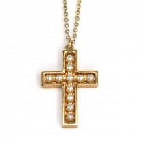 Rafinat colier religios | metal placat cu aur & perle faux | atelier Trifari | Statele Unite cca.1970
