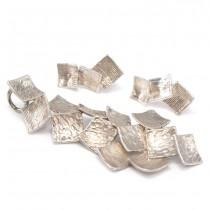 Set de bijuterii brutaliste scandinave | cercei & pandant statement | argint | Finlanda