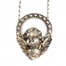 Elegant colier din argint cu pandant romantic | Amoraș | anii '70 | Italia