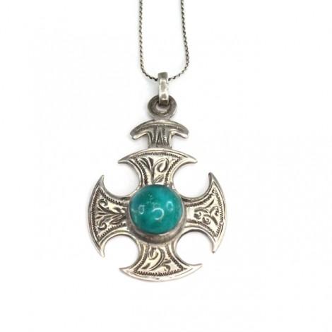Colier cu veche amuletă celtică   Crucea lui Thor   argint & piatră chrysocolla