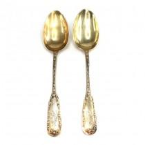 Set de 2 lingurițe Empire | argint aurit | atelier Alphonse Debain | cca. 1890