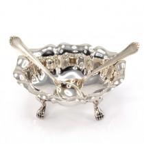 Rafinată garnitură din argint pentru servirea caviarului | bol și două lingurițe