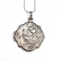 Colier din argint cu pandant locket Art Nouveau | atelier K. Thamar | Spania cca.1910