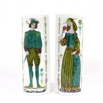 Pereche de vaze-buchetiere, pentru perete | porțelan glazurat și pictat | Franța