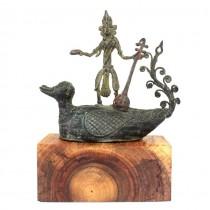 Veche statuetă hindusă | Saraswati |  aliaj bronz Dhokra | India