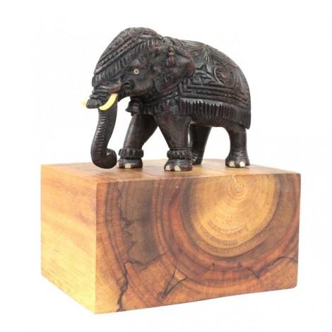 Rafinată statuetă indiană, sculptată în lemn de abanos | Elefant regal | India