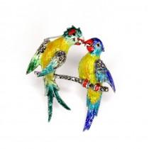 Exotică broșă din agint emailat | Papagali | argint, email cloisonné & marcasite | Germaniar