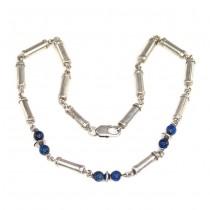 Colier statement modernist | bijuterie unisex | argint și lapis lazuli | Franța | anii '90