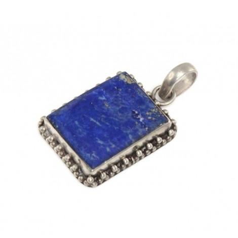 Veche amuletă etnică indiană | manufactură în argint & lapis lazuli | Rajasthan