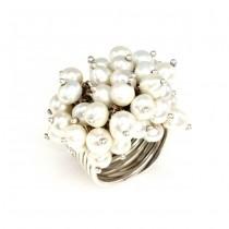 Impresionant inel statement decorat cu perle naturale de cultură | manufactură în argint | Franța
