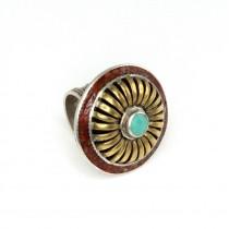 Opulent inel tribal indian | argint, alamă, turcoaz și coral | manufactură unicat | sec.XX