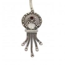 Colier cu veche amuletă hindusă | manufactură în argint & granat natural | India