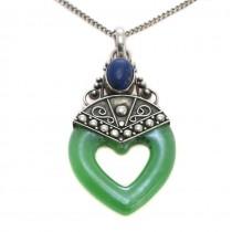 Colier cu amuletă romantică indoneziană | manufactură în argint, lapis lazuli natural & jad faux