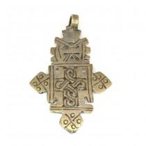 Veche amuletă ortodoxă etiopiană | Cruce coptică | manufactură în aliaj de argint