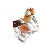 Inedit inel spiralat, flexibil, decorat cu anturaje de agat carnelian și cuarț alb | India